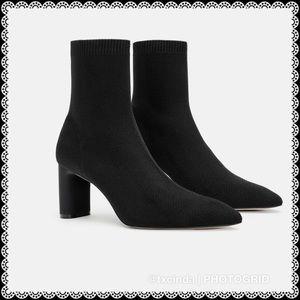 ZARA WOMAN Fabric Sock Ankle Boots